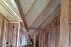 Spray foam insulation on new construction
