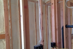 Stud wall with spray foam insulation