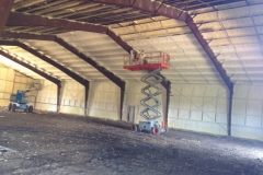 steel building, red iron with spray foam insulation